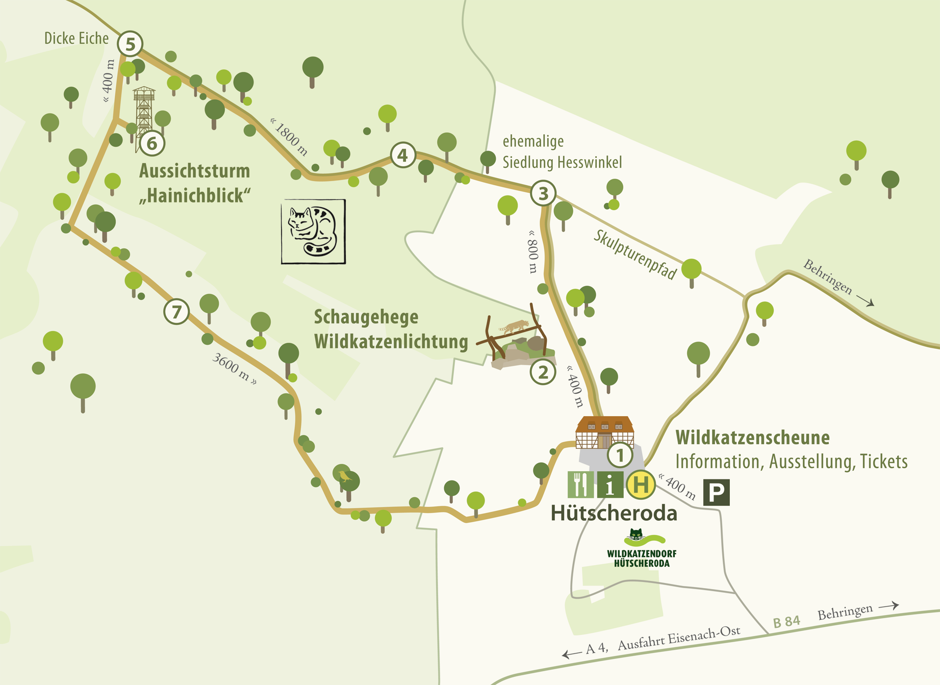 Grafik: Kartendarstellung des Wildkatzendorfes Hütscheroda